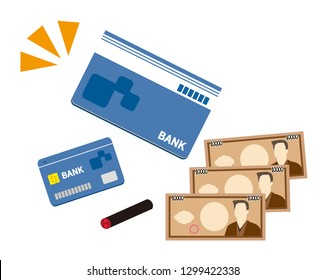 Japanese stamp.Vector icon for bankbook.Vector credit card. Business and finance. Japanese yen.