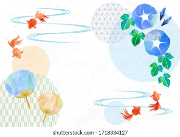 Japanese stlye frame with goldfish, fan and morning glory