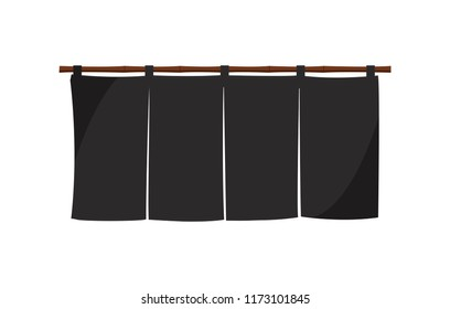 Japanese store curtain illustration (black)