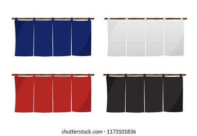 Japanese store curtain illustration set