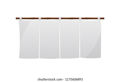 Japanese store curtain illustration (white)