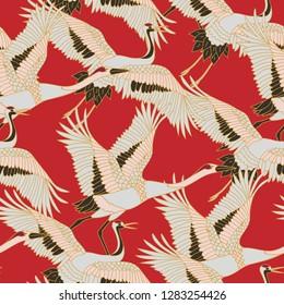 Japanese japanese stork or pattern. Oriental - japanese - seamless pattern. Crane, stork, heron. Flying heron bird. Red background