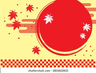 Japanese style background material of autumn leaves