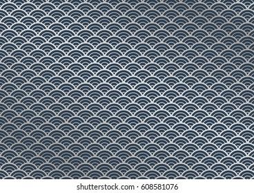 Japanese style background material, Indigo wave