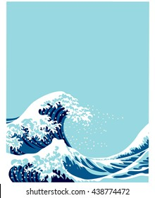 Japanese style big wave. Vector illustration. Art graphic background for cover, poster, card.