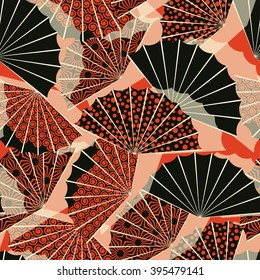 a japanese style fan shape seamless pattern, with 3 different decorations in a orange and black palette