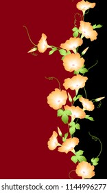Japanese style morning glory pattern, Design of a Japanese style morning glory, This painting continues repeatedly,