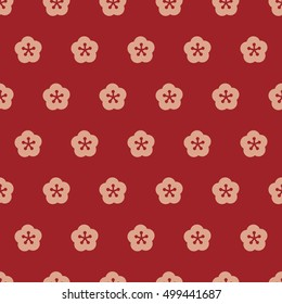 Japanese style red and pink plum flower seamless pattern