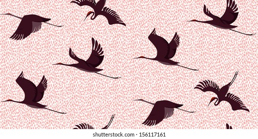 Japanese Style Seamless Leopard Cranes Pattern