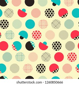 japanese style seamless pattern with eclectic dots in ivory red blue shades