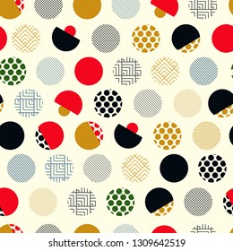 japanese style seamless pattern with eclectic dots in gold black red