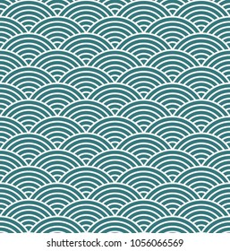 Japanese style seamless pattern, Wave concept pattern background, Emerald green pattern, Vector