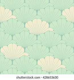 a Japanese style seamless tile with exotic foliage pattern in soft blue