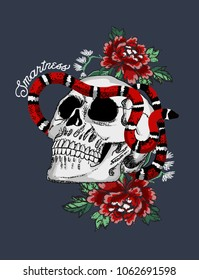 japanese style skull and snake in the roses