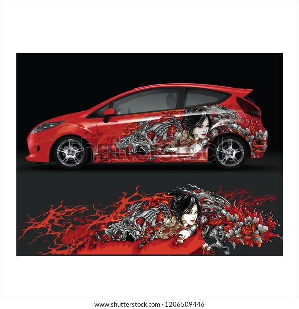 Japanese Style Tattoo Car Decal Graphic Stock-Vektorgrafik ...