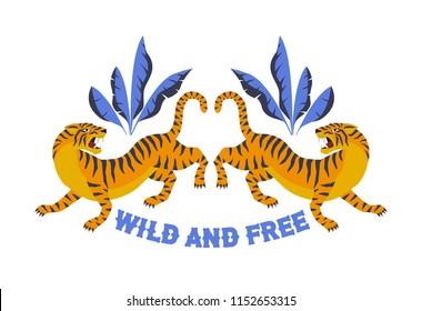 Japanese style tiger for t-shirt and other uses. Wild and free. Trendy vector illustration.