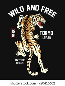 Japanese style tiger vector illustration for t-shirt and other uses.