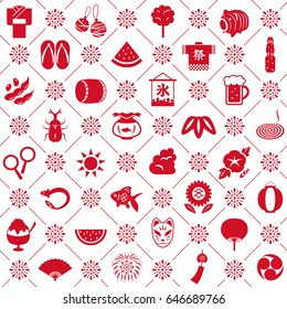 """Japanese summer seamless pattern background.  """"Festival"""" and """"ice"""" are written in Japanese."""