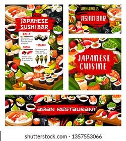 Japanese sushi bar menu, Asian seafood cuisine restaurant food banner. Vector maki and temaki rolls fish and seafod sashimi, tempura hosomaki and wakame seaweed salad bento lunch with chopsticks