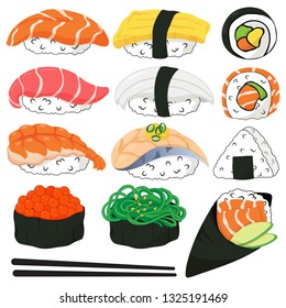 Japanese sushi icons vector. (kawaii sushi cartoon) Include salmon, tuna, shrimp, cooked egg, squid, saba, salmon roe, wakame, cooked rice, temaki and seaweed.