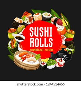 Japanese sushi and rolls, restaurant banner of japanese cuisine. Vector seafood, perch and salmon sashimi, eel unagi maki with chopsticks, soy and wasabi sauce. Shrimp tempura and teapot with cups