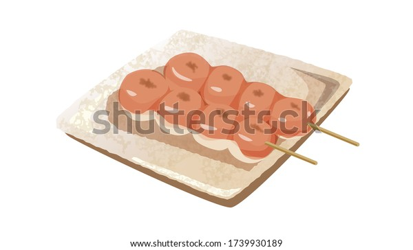 お菓子の団子玉、ベクターイラスト