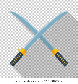 Japanese swords icon in flat style with long shadow on transparent background