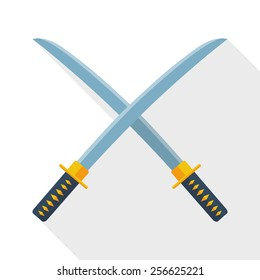 Japanese swords icon with long shadow on white background