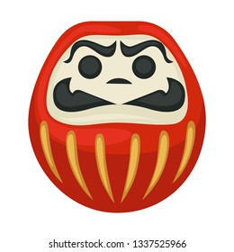 Japanese symbol daruma doll isolated lucky statue vector Bodhidharma god Buddhism and Zen tradition traveling Japan culture tourism decorative toy anger emotion meditation and wishing fortune charm