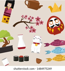 Japanese symbols of luck vector pattern. Japanese dolls - kokeshi that bring good luck, prosperity and wealth, cat, fish and bonsai cartoon illustration.