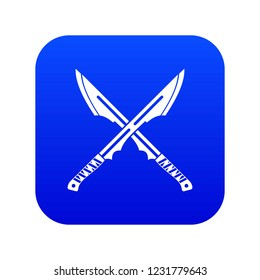 Japanese tanto daggers icon digital blue for any design isolated on white vector illustration