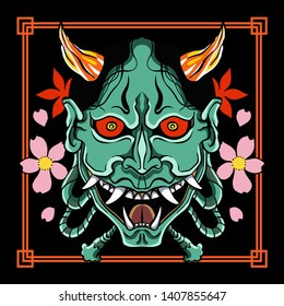 Japanese Tattoo design. japanese demon masks