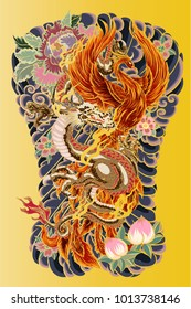 Japanese Tattoo design full back body.The Dragon and Phoenix fire bird with Peach juice and peony flower,cherry blossom,peach blossom on cloud background.Phoenix Fire bird with Old Dragon vector.