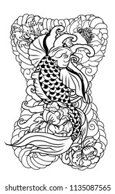 Japanese tattoo design full back body.The Old Dragon and koi carp fish with water splash and peony flower,cherry blossom,peach blossom on cloud background.