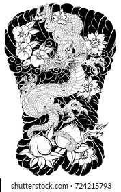 Japanese Tattoo design full back body.The Old Dragon with Peach juice and peony flower,cherry blossom,peach blossom on cloud background.
