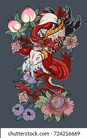 Japanese tattoo design full back body.The Old Dragon and koi carp fish with water splash and peony flower,cherry blossom,peach blossom on background.