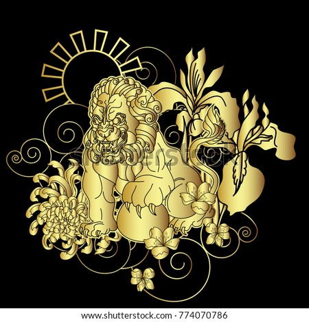 Japanese Tattoo Wallpaper Gold Lion Tiger Pattern Traditional Stock