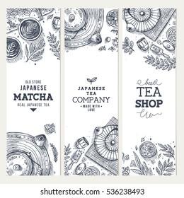 Japanese tea ceremony banner collection. Tea design templates. Engraved style illustration. Matcha tea. Vector illustration