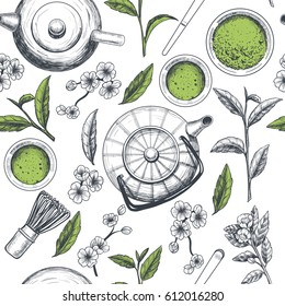 Japanese tea ceremony. Matcha tea. Vector seamless pattern