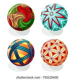 Japanese Temari ball designs in autumn colors