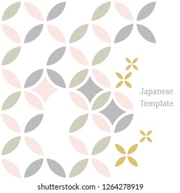Japanese template background. Pastel color geometric pattern vector.