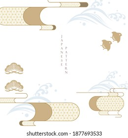 Japanese template with geometric pattern vector. Asian traditional icon with wave, birds, bonsai elements.