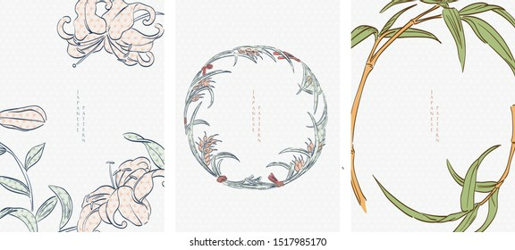 Japanese template with hand draw natural elements vector. Lilly flower, bamboo and rice background.