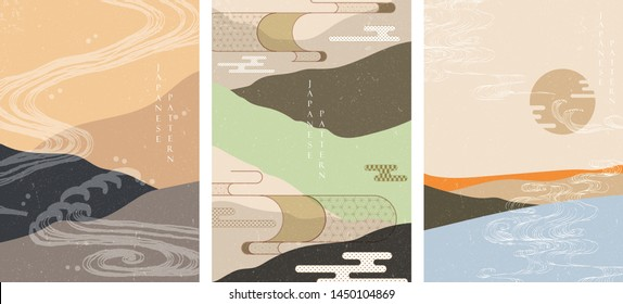 Japanese template with hand drawn wave vector. Landscape background with Asian element.