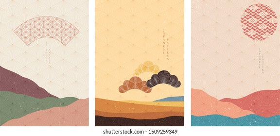 Japanese template with landscape background vector. Geometric pattern with Japanese icon like fan and pine tree elements.