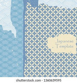 Japanese template vector. Blue geometric pattern background. Abstract brush stroke elements