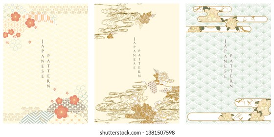 Japanese template vector. Cherry blossom, Peony flower, Hand drawn wave and Japanese pattern background. Invitation card in Asian style.