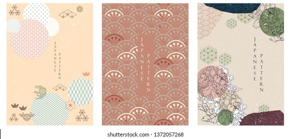 Japanese template vector. Flower icon with Japanese pattern vector. Geometric background.