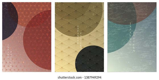 Japanese template vector. Geometric background set. Gradient abstract cover design.