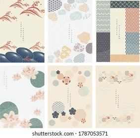 Japanese template vector. Geometric background. Umbrella, and abstract elements. Paper wallpaper in Chinese style. Natural luxury texture